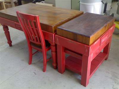 Preparation Table And Butchers Block Side By Side In Red